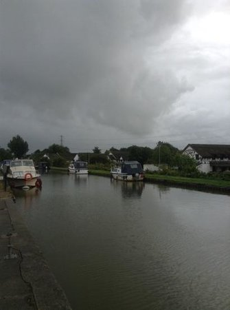 Premier Inn Preston North Hotel: moored boats in the rain in August