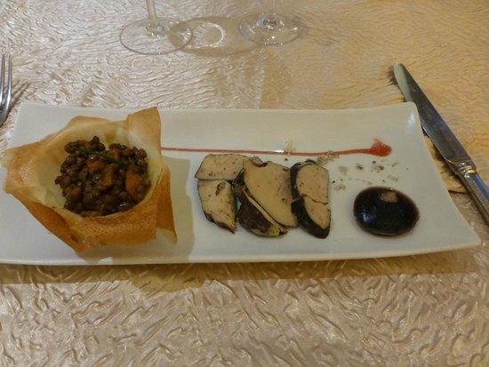 Auberge de la Truffe - Hotel de la Mairie : Salade tiède de lentille verte, Foie Gras