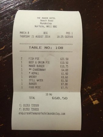 The Manor Hotel : Initial bill for four people (included 2 fish pies sent back)