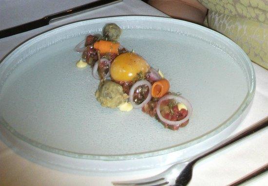 Starter: British Wagyu beef, Slow cooked egg yolk, rapeseed and mustard dressing