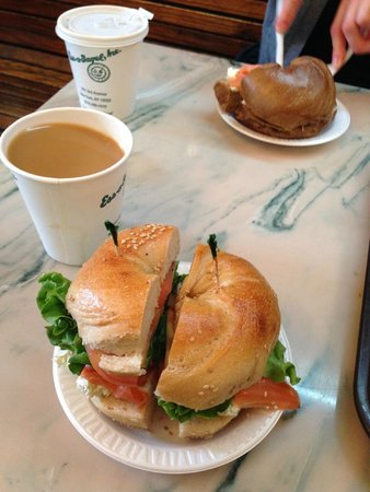 Ess-a-Bagel: Salmon & cream cheese with chives on a delicious, warm, sesame seed bagel. Pumpernickel too!