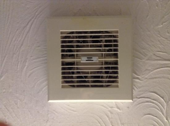 Marsh Farm Hotel: Bathroom fan full of dust & cobwebs.