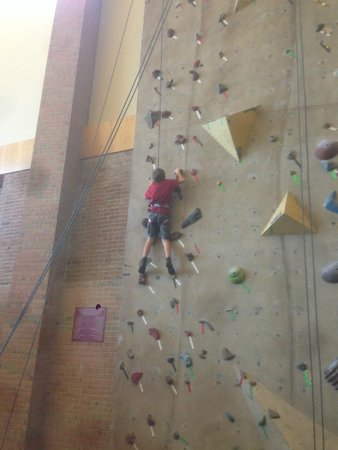 Prince Conference Center at Calvin College: One of the many routes on the rock climbing wall that can be enjoyed during your stay