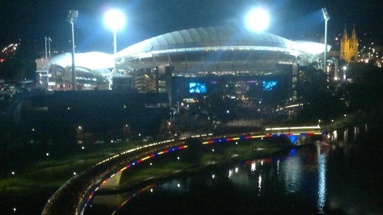 InterContinental Adelaide: View of footy fans streaming back over footbridge after game