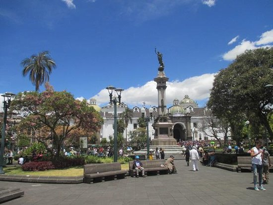 Plaza de la Independencia (Plaza Grande): View from the Basilica steps - lots of places to sit