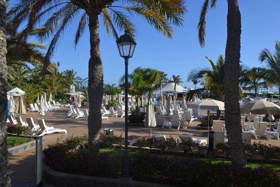 Hotel Riu Palace Maspalomas : VUE DE LA TERRASSE ( grande piscine )