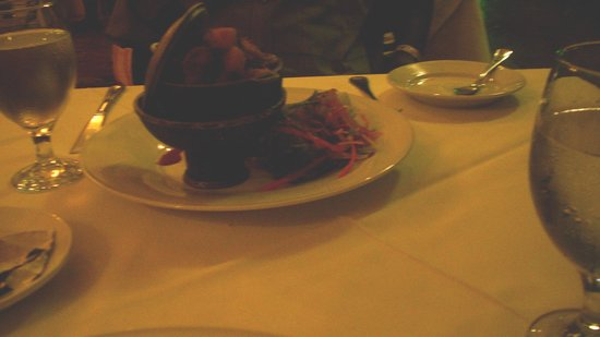 Cardiff Hotel & Spa: curried goat served in miniature dutch pot on coal stove ( brilliant)