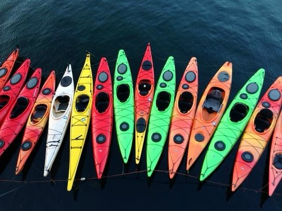 Eagle House Motel : View of kayaks from restaurant upper deck