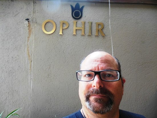 The Ophir Hotel: Entrance sign not too easy to find