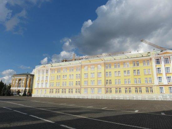 Kremlin: 大統領府は工事中なのか、布で覆われていた。