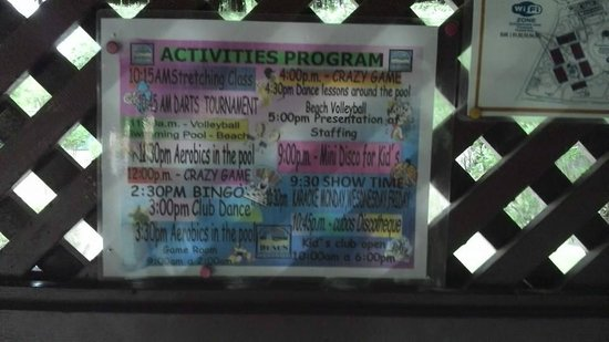 Dunes Hotel & Beach Resort: Activities list