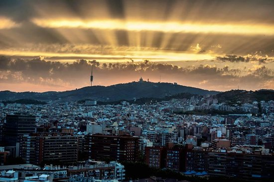 Meliã Barcelona Sky: The view from our room with Mount Tibidabo in the background