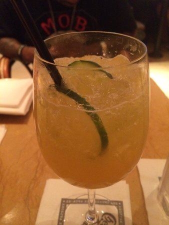 The Cheesecake Factory: Mango crush: mango, Hendricks gin, st Germaine and lime over crushed ice!!! Awesome...