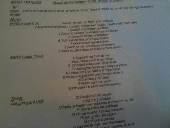 El Recreo: une partie du menu