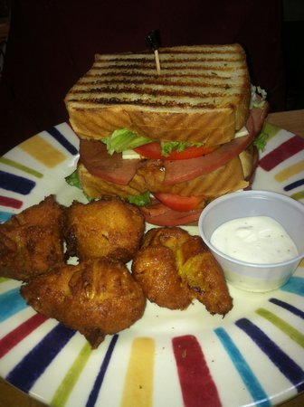 Fletcher's Finds: Our Triple Decker Fried Bologna Sandwich served with a side of our Famous Squash Puppies! YUM!!