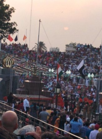 Wagah Border: The National Flag getting lowered for the day