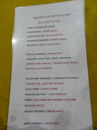 Armazem Restaurante: Menu