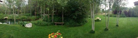 Wildflower Lodge at Jackson Hole: Beautifully landscaped back yard
