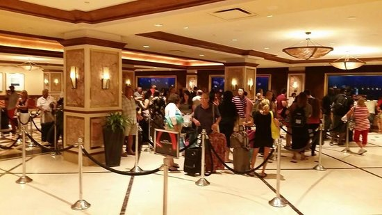 Harrah's Resort Atlantic City: Ridiculously long check in lines (it was even longer than this picture shows)