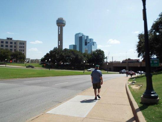 Hyatt Regency Dallas : Hotel from a distance next to Reunion Tower