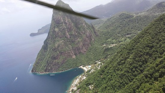 Sandals Regency La Toc: View of Piton from heli