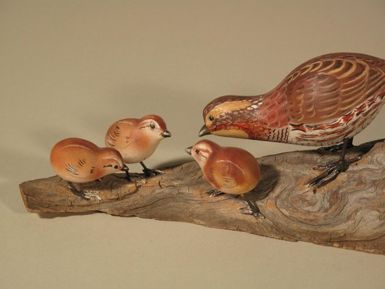 Wendell Gilley Museum: Miniature Bob-white Quail carvings by Wendell Gilley