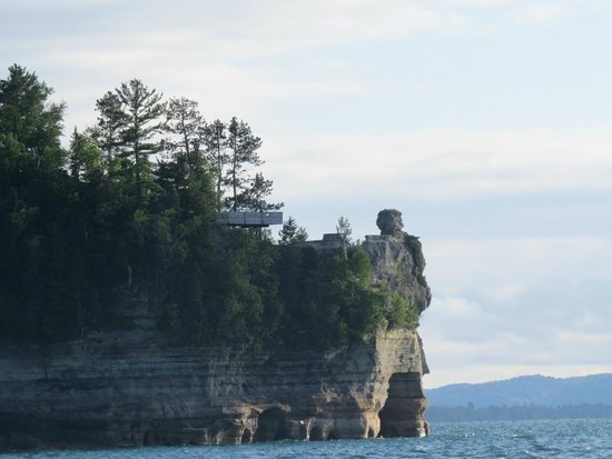 Pictured Rocks National Lakeshore: Miners Castle from Boat Cruise looking West PRNLS August 2014 IMG_9768
