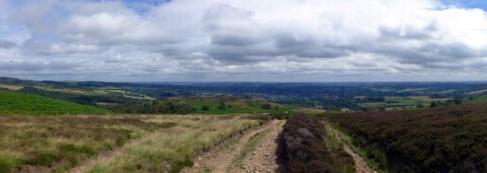 Longshaw Estate: View across Sheffield, towards North Yorkshire and Lincolnshire, from Totley Moss - five powerst