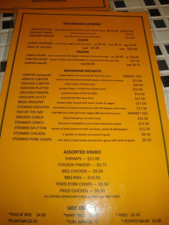Bahamian Cookin' Restaurant & Bar: Front of the Menu