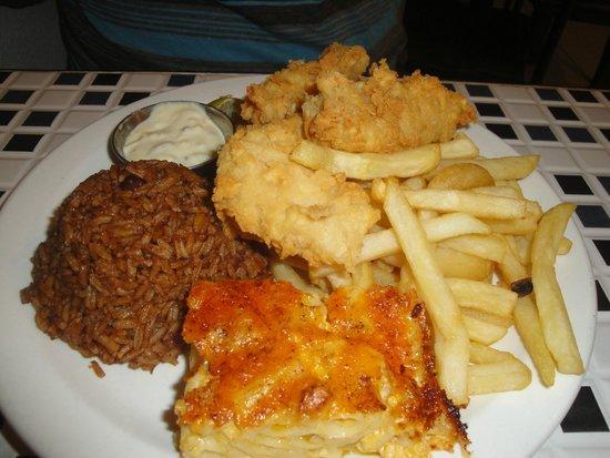 Bahamian Cookin' Restaurant & Bar: Grouper Fingers, Peas n Rice,Mac N Cheese, and Fries