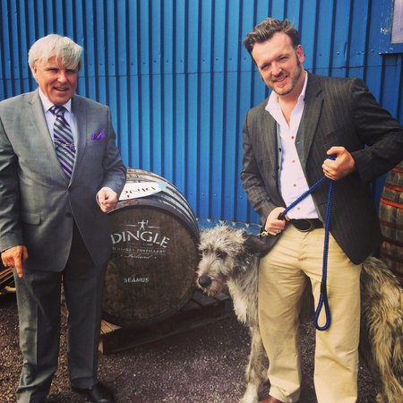 Dingle Whiskey Distillery: With Francis Brennan from RTE and Seamus our wolfhound at the brilliant Dingle Distillery