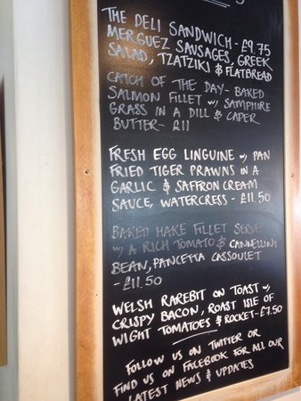Thyme and Tides Deli: Good selection of specials. I'd move them from behind the table though