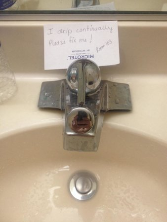 Microtel Inn & Suites by Wyndham Bowling Green : Room 103, leaky bathroom faucet