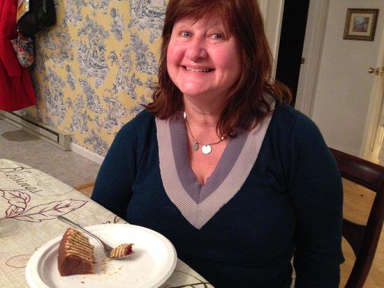 Smith Island Inn: Sally feasting on the special Smith Island Cakes