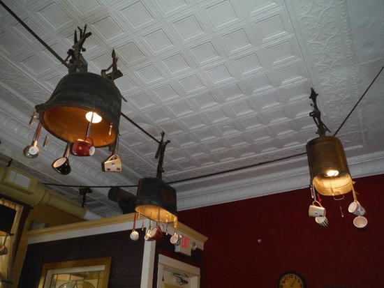 Tin ceiling and tub lights with crystals and coffee mugs - Picture ...