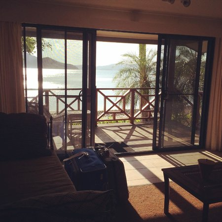 Palm Bay Resort Whitsundays: Midday view from the living area of Bungalow 13; Mid tide