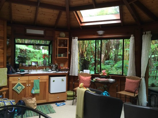 Volcano Rainforest Retreat : view rom bed area