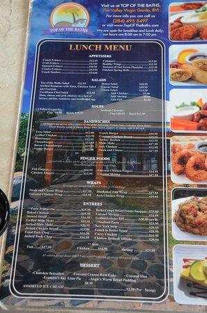 Top of the Baths : menu