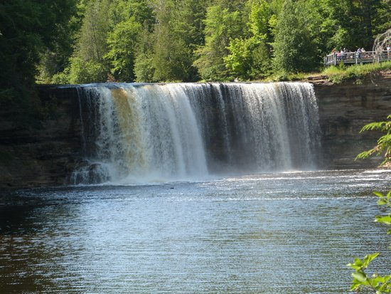 Tahquamenon Falls State Park: Upper falls from ground view