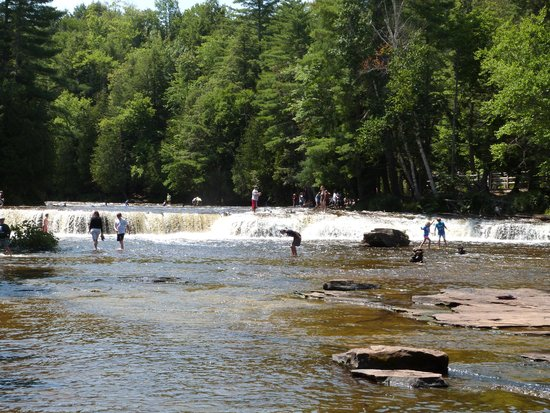 Tahquamenon Falls State Park: People playing in lower falls