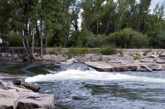 Island Acres Resort Motel : Gunnison River across the highway from Island Acres