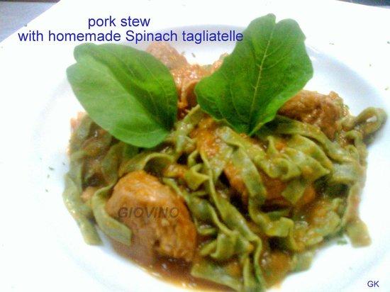 Giovino Restaurant : pork stew with homemade Spinach tagliatelle