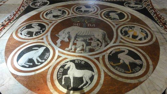 Dom von Siena: La Louve siennoise entourée des symboles des cités alliées