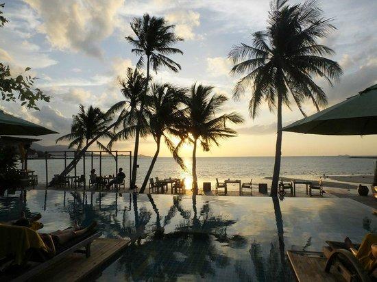 Tango Luxe Beach Villa : hotel public pool at sunset