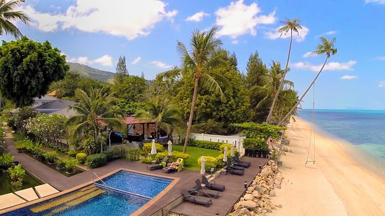 Lotus Samui: Aerial view of the beach and resort pool
