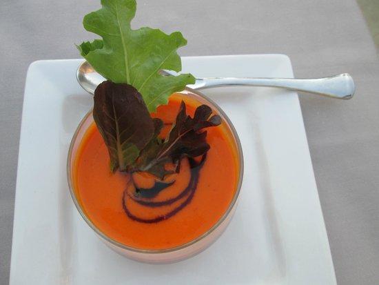 Hotel Cote Rivage: Soupe melon et poivron doux (menu fripouille)