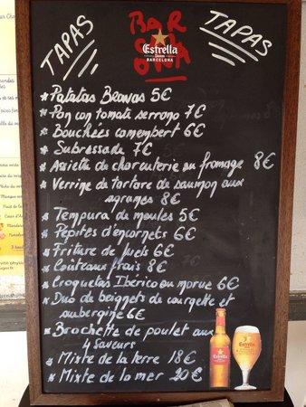 Restaurant le Bacchus des Karantes: Carte des tapas