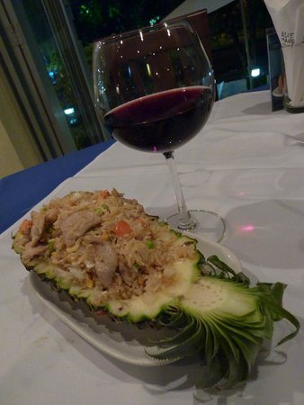 Blue Mango: Fried rice, vegetables and pork in pineapple