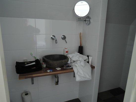 Hotel The Golden Bear : Moderno, bonito, con muy poco espacio. Solo dan jabon.