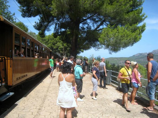 Ferrocarril de Soller : People get off the train